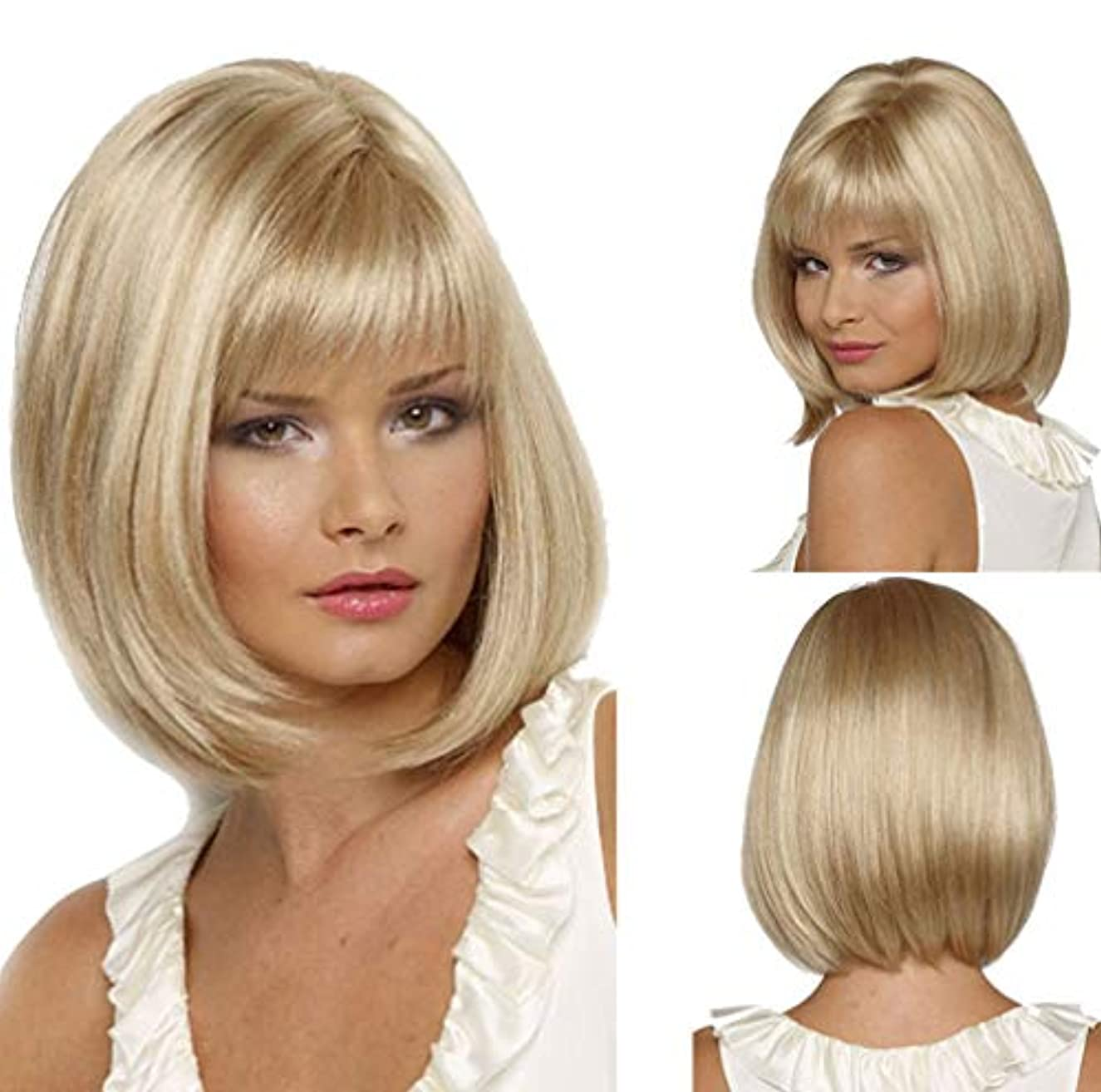 認証思春期支店女性のかつら人毛合成耐熱繊維かつらPreplucked調整可能なキャップ150%密度