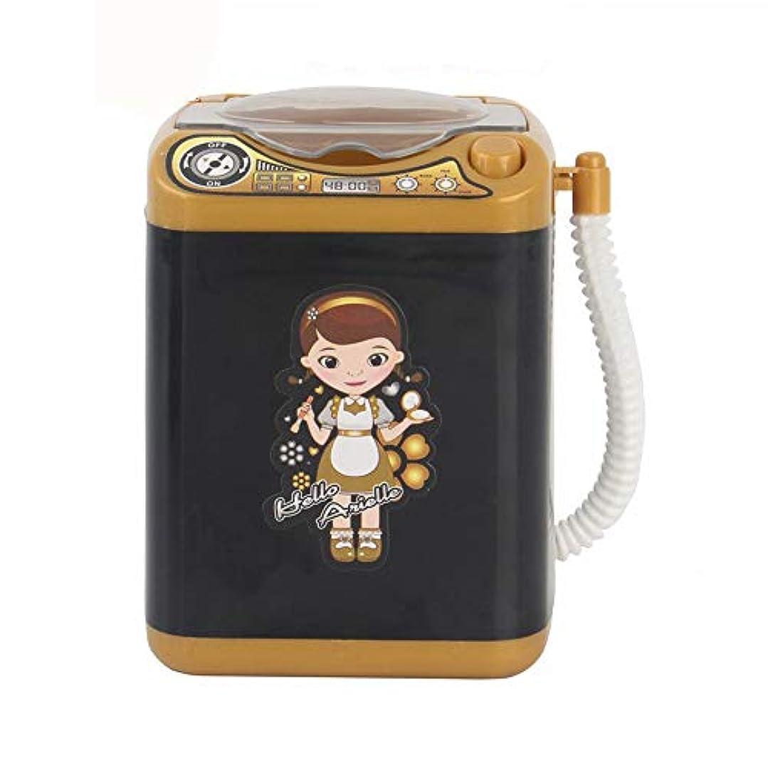 化粧ブラシクリーナー ミニ多機能自動洗浄洗濯機 化粧ブラシクリーナーデバイス自動クリーニング洗濯機用女性女の子化粧ブラシスポンジパウダーパフクリーニングダーパフクリーニング (黒)