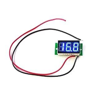 【シンプル雑貨】小型デジタル電圧計 2.4V~30V 青(2線式=別電源不要/埋込型) 電圧測定 【国内品質管理】 ブルー