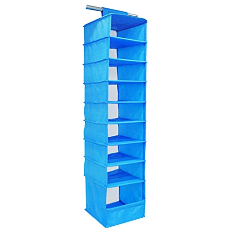 monkeyjack 9-section Folding HangingストレージシェルフClothes Organiser Divider forコートパンツタオル靴防塵 ブルー 628c35cb14d881db015d67af266d67a0