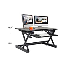 "Rocelco EADRB2 Standing Desk Converter - Side Paddle Easy Height Adjustable Sit Stand Desk Riser - Dual Monitor Capable - 32"" Wide With Retractable Keyboard Tray - Black Finish"