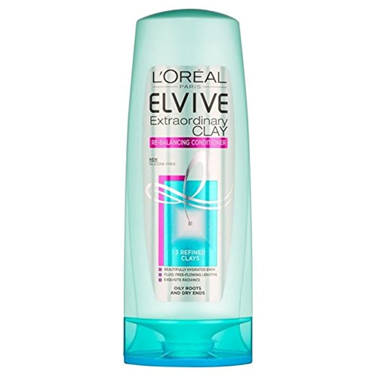 L'Oreal Paris Elvive Extraordinary Clay Re-Balancing Conditioner 400ml (Pack of 6) - ロレアルパリ臨時粘土再バランシングコンディショナー...