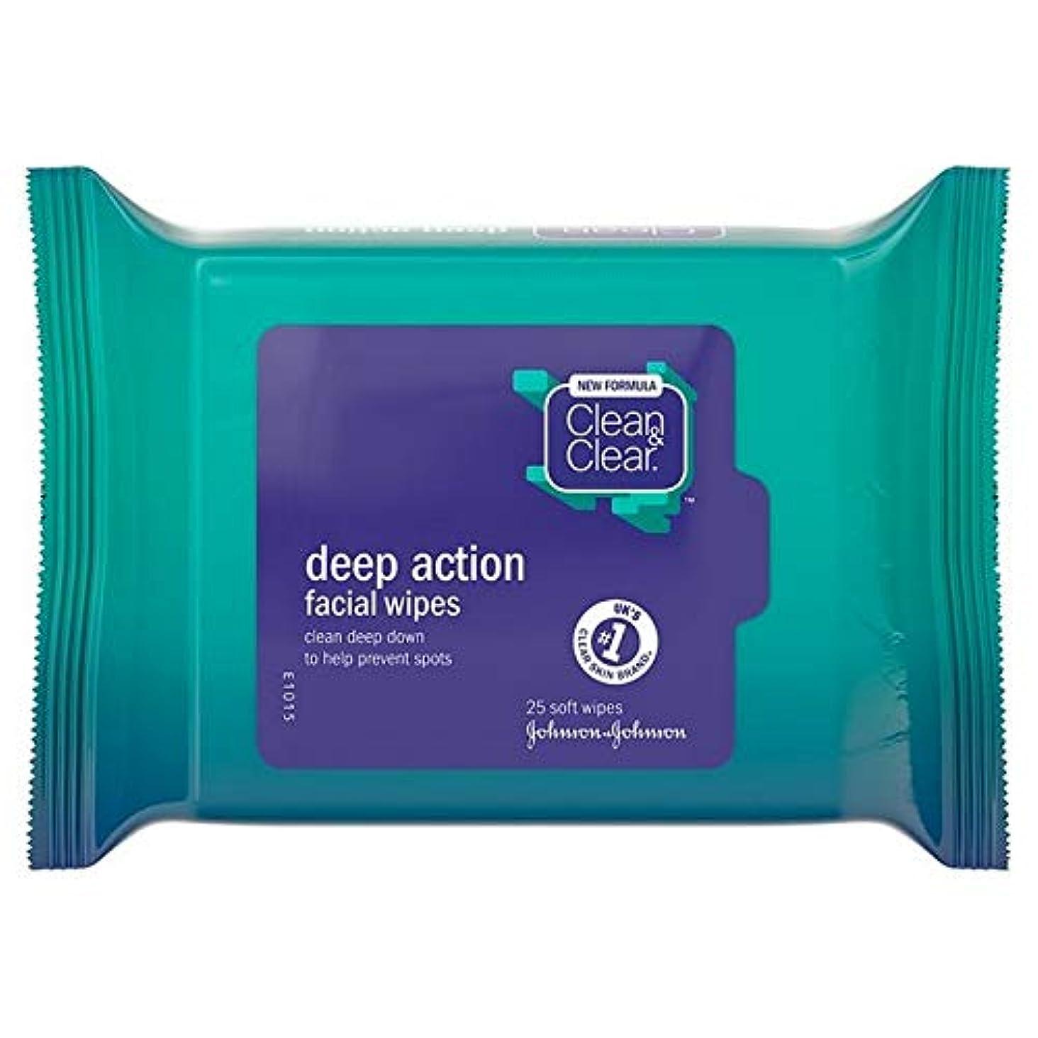 一握り作ります対応[Clean & Clear ] クリーン&クリアな顔はパックあたり25ワイプ - Clean & Clear Face Wipes 25 per pack [並行輸入品]