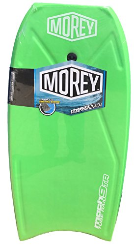 Morey Mach Green 9TR Tube Rail Bodyboard 108cm 42.5 Inch Boogie Board with Coiled Leash Tube Rail Surfing