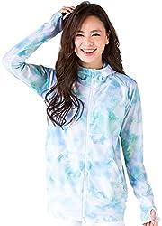 ICEPARDAL(アイスパーダル) 全20色柄 S~3Lサイズ レディース ラッシュガード パーカー 長袖 UVカット UPF50 + 指穴つき