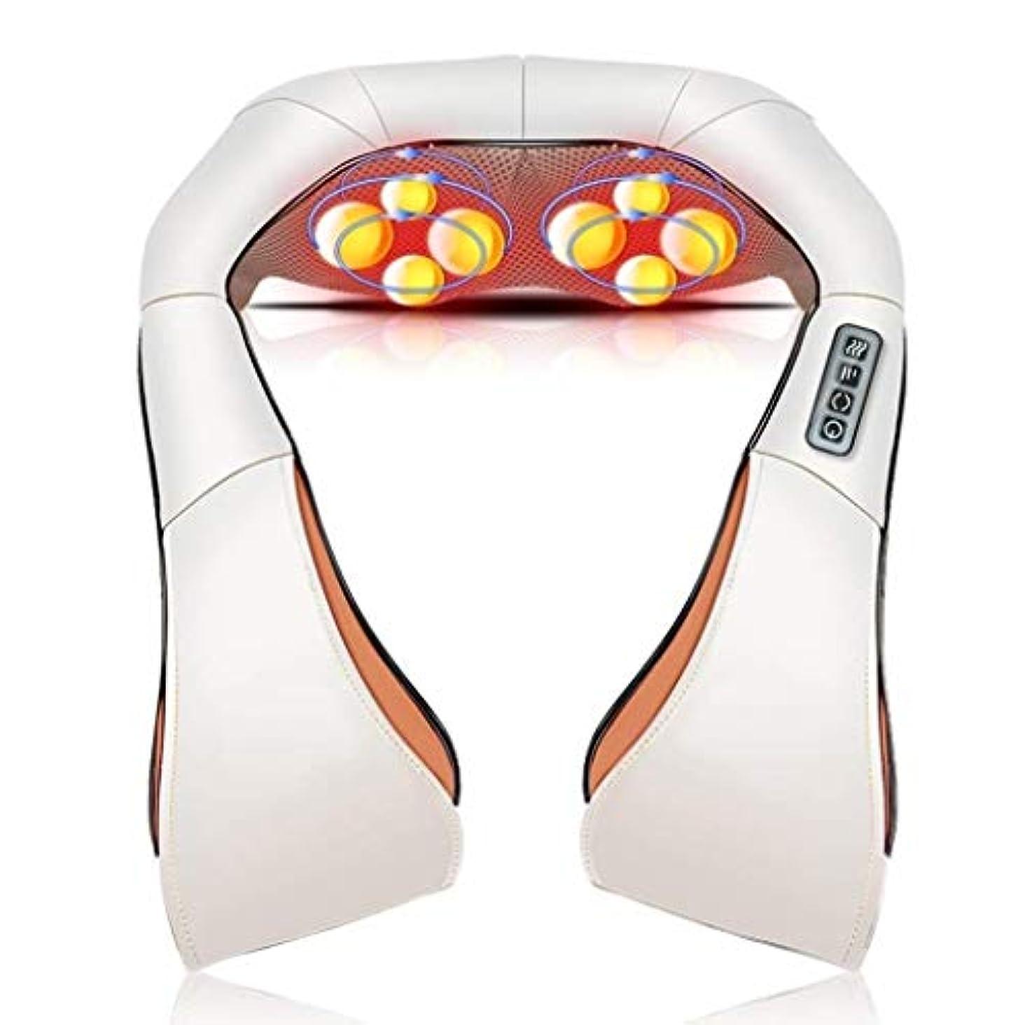 リズムヒゲぬれた電動ネックマッサージ、多機能加熱/振動マッサージ、調節可能な筋力、背中、肩、足、足、痛みの緩和に適しています