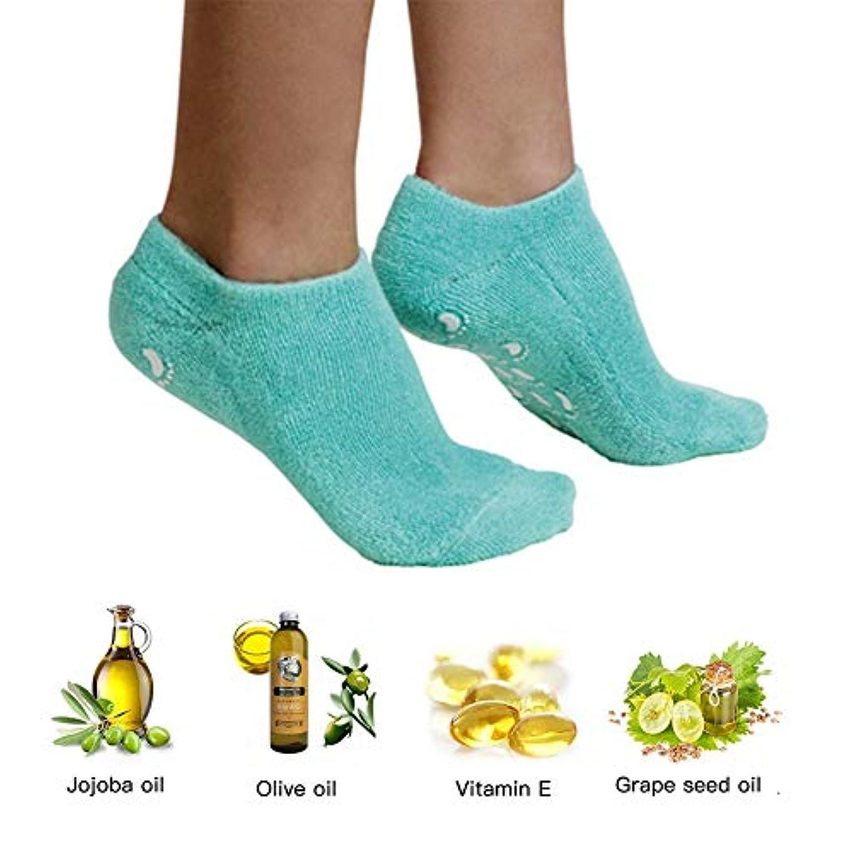 マンハッタン穏やかなチャンスエッセンシャルオイルジェル美容保護手袋ソックスフットカバー男性と女性のかかとフルフットシリコーン保湿白い抗クラッキングソックス,1PCS