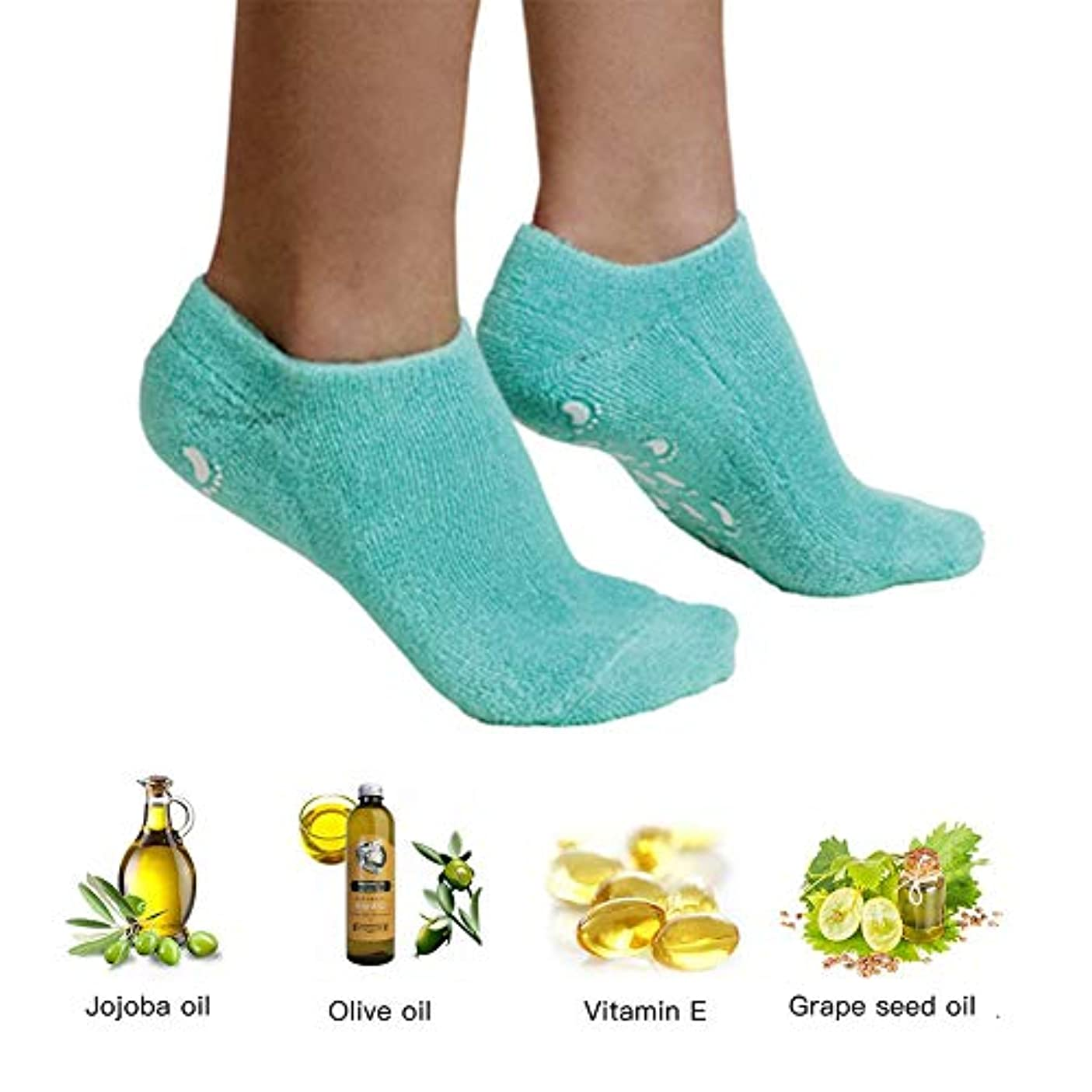苦いタオル祭司エッセンシャルオイルジェル美容保護手袋ソックスフットカバー男性と女性のかかとフルフットシリコーン保湿白い抗クラッキングソックス,1PCS