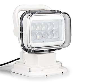LEDサーチライト 50W 作業灯 ワークライト 6000K 4750LM リモコン付き 遠隔操作 防水IP65 360度回転 角度調整 強力マグネット付き 12V/24V兼用 船舶照明 車外灯 本体ホワイト