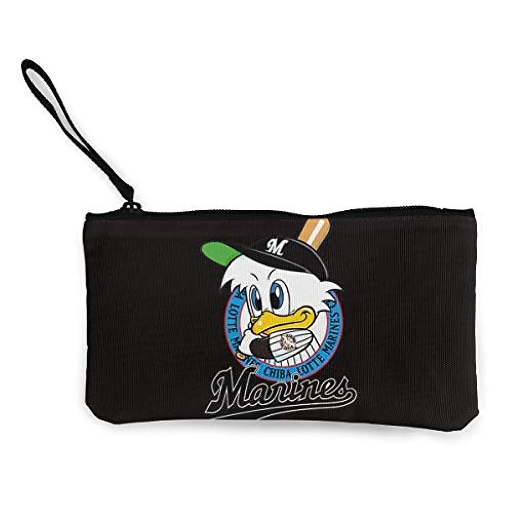 誰の記憶職業千葉ロッテマリーンズ 小銭入れ ワレット 財布 キャンバス ジッパー付きハンド 大容量