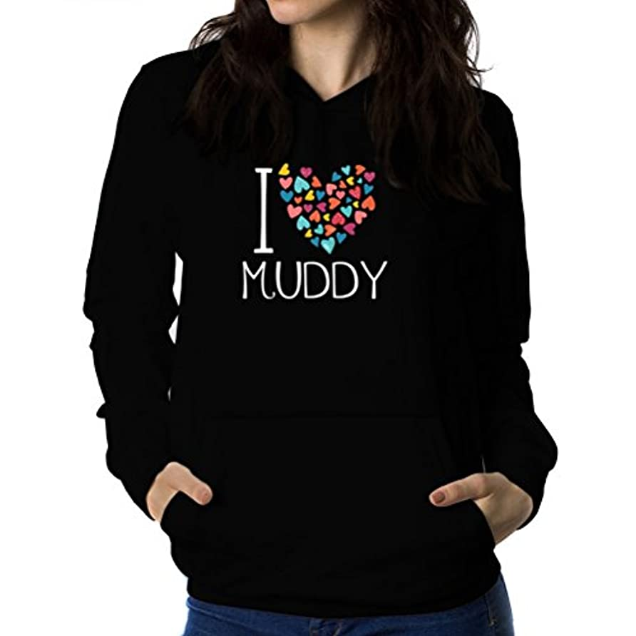 ベンチ泣き叫ぶ評価可能I love muddy colorful hearts 女性 フーディー