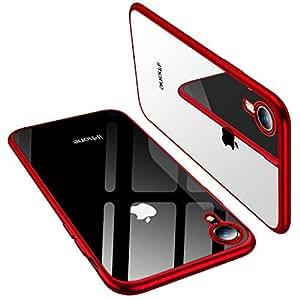 TORRAS iPhone XR ケース 6.1インチ TPU 背面クリア+メッキ加工 薄型 黄変防止 ソフト アイフォンXR 耐衝撃カバー(レッド)
