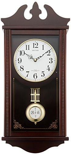 リズム時計 柱 掛け時計 電波 アナログ ペデルセンR 振り子 時報 木 茶 RHYTHM 4MNA03RH06