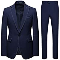 Howely Mens 2 Button Classic Big Tall Slim Suits Jacket and Trousers