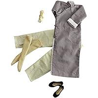 Baoblaze 長袖 カンフースーツ ローブセット 1/6スケール グレー  12インチ フィギュア適用 衣装