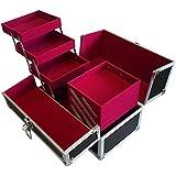 リライアブル コスメボックス RB002-BKVP 鍵付き プロ仕様 メイクボックス 大容量 化粧品収納 小物入れ 6段トレー ベロア メイクケース コスメBOX 持ち運び ネイルケース