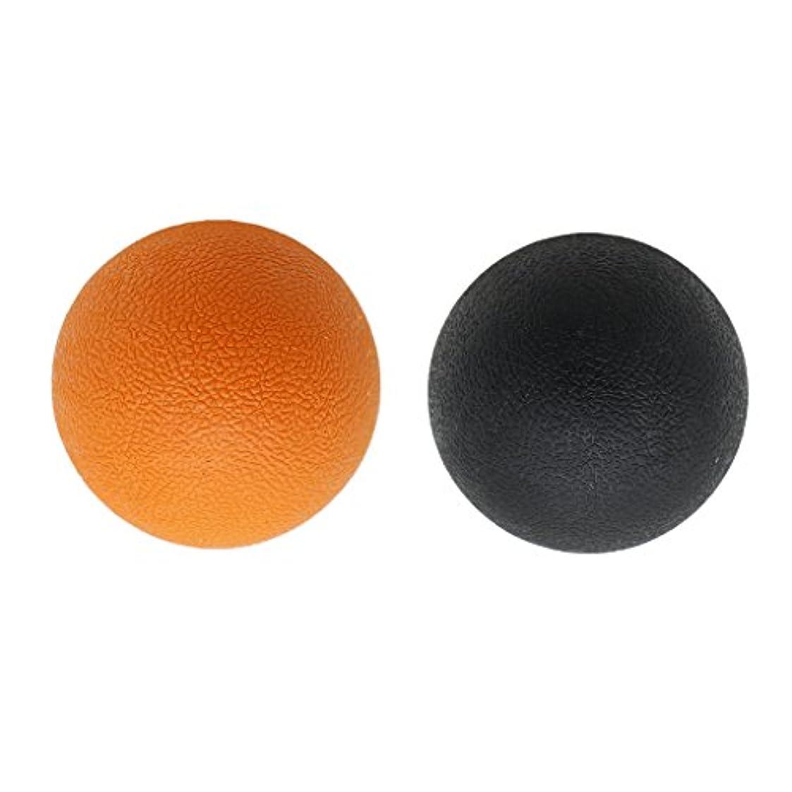 に勝る収縮不適2個 マッサージボール ラクロスボール トリガ ポイントマッサージ 弾性TPE 多色選べる - オレンジブラック