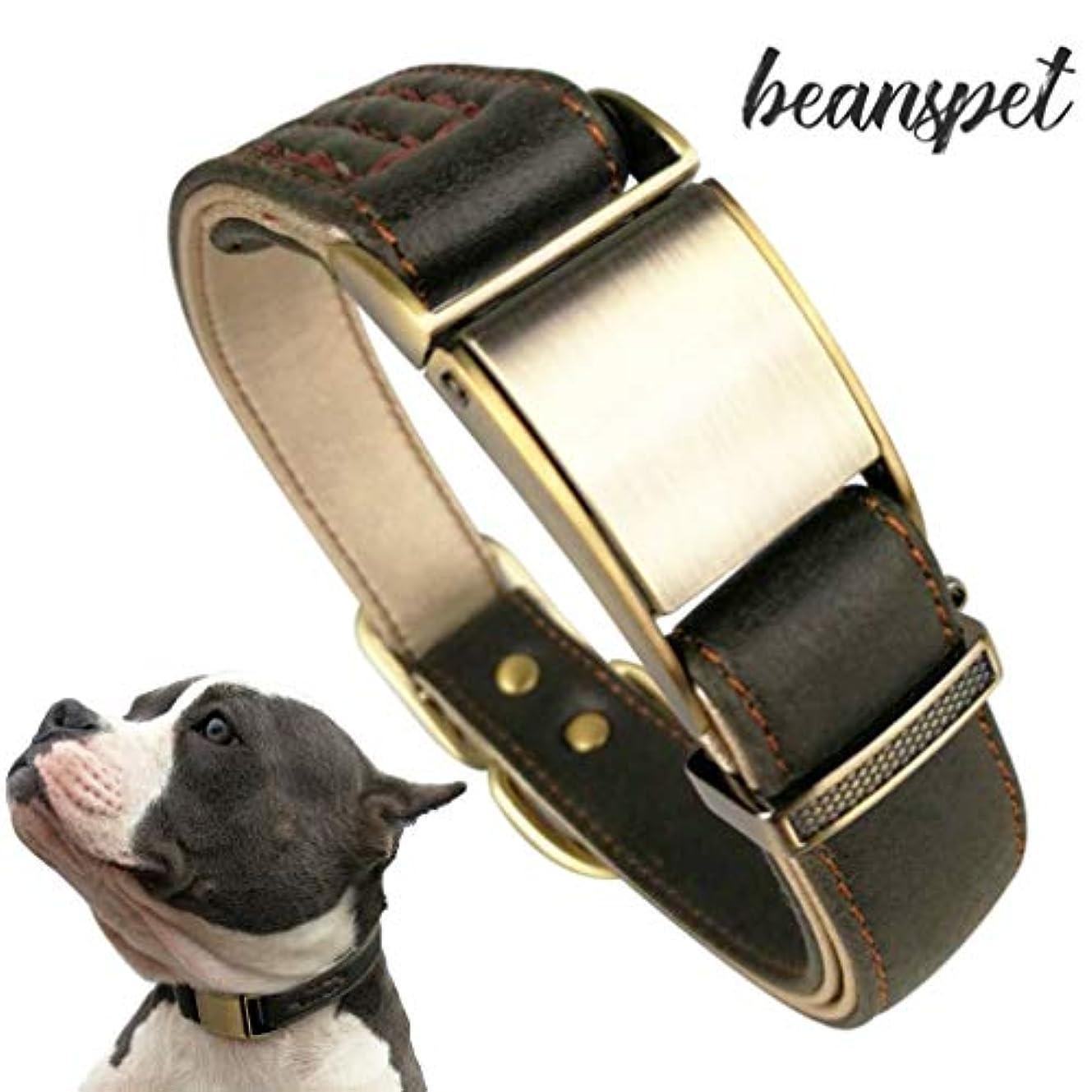 理由店員に慣れbeanspet 犬 ワンタッチ 首輪 犬首輪 革 おしゃれ かわいい 犬の首輪 いぬ くびわ 犬用品 犬用 カラー レザー (S, ダークグリーン)