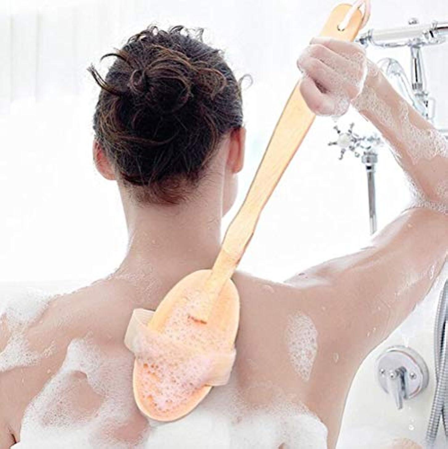 喉が渇いた後継忙しい木製の長いハンドルバスブラシ豚毛ブラシ乾燥肌ボディブラシシャワードライクリーニングブラシ剥離