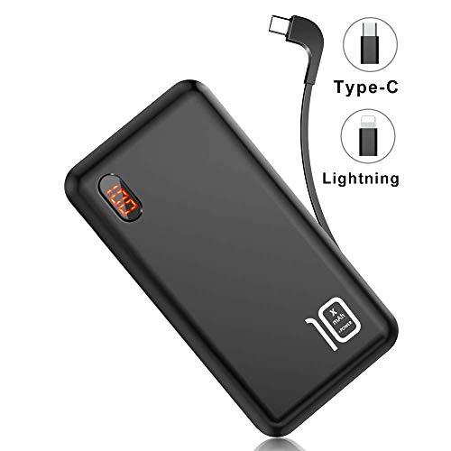 モバイルバッテリー 軽量 ケーブル内蔵 10000mAh 大容量 LEDスクリーン ライトニング/microUSB/Type-Cコネクタ付 2USBポート スマホ 充電器 コンパクト 持ち運び便利 iphone/ipad/Android対応 (ブラック)