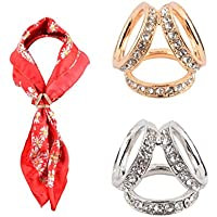 CM 2 Pack Fashion Three Rings Rhinestone Scarves Buckle Scarf Ring Clip Wrap Holder Clamp Silk Sarf Clasp for Women Girls Golden Silver Set