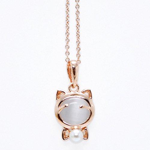 [比翼堂]レディース ネックレス オパール 天然パール 「綺麗なパールとかわいい子猫」 サージカル ステンレス 18kゴールドメッキ 最高級ケース付き 2カラー(ホワイト & ピンク) (ホワイト)