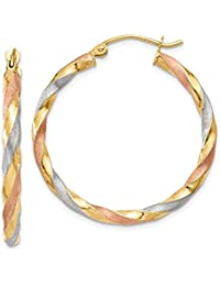 14k Yellow Gold White Rose Satin Twisted Hoop Earrings