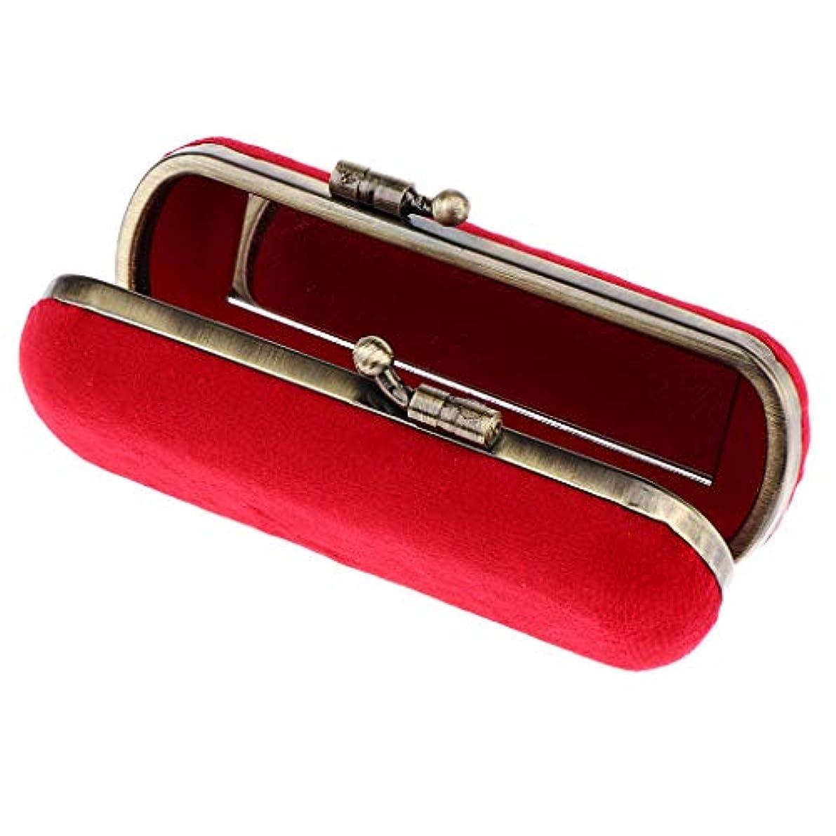 コントローラ廃棄する穿孔するCUTICATE 8色選ぶ ヴィンテージ 化粧ポーチ 口紅ホルダー ミラー付き リップグロスホルダー 化粧ケース - レッド