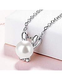 可愛い ウサギ ネックレス 5A級CZダイヤ 3色 花珠高級オーロラ貝パール 10mm ホワイト ピンク ゴールド ペンダント 925シルバー ギフトラッピング