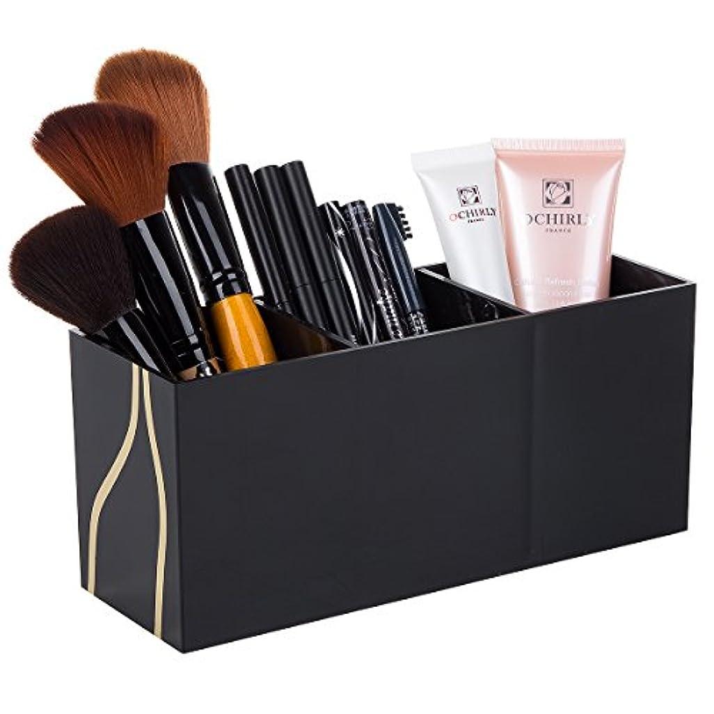 赤ちゃん私極地化粧筆収納ケース 化粧品収納ボックス 3フレーム収納ボックス コスメブラシホルダー 小物 収納 卓上 ブラック アクセサリー アクリル (ブラック)