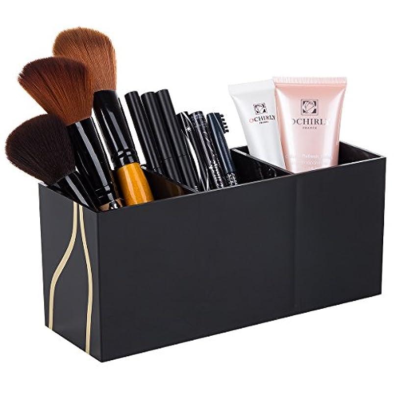 調整するショッピングセンタークリエイティブ化粧筆収納ケース 化粧品収納ボックス 3フレーム収納ボックス コスメブラシホルダー 小物 収納 卓上 ブラック アクセサリー アクリル (ブラック)