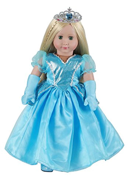 YAKADI18インチの人形の青いドレスの青い手袋の18インチの人形のために作られた青いハイヒール(18インチの人形の服) (18インチの人形の服)