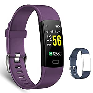 スマートブレスレット 多機能スマートウォッチ 心拍計 血圧計 活動量計 万歩計 腕時計型 IP67防水 電話着信 Line通知 睡眠検測 歩数計(交換用ベルト付属) (パープル)