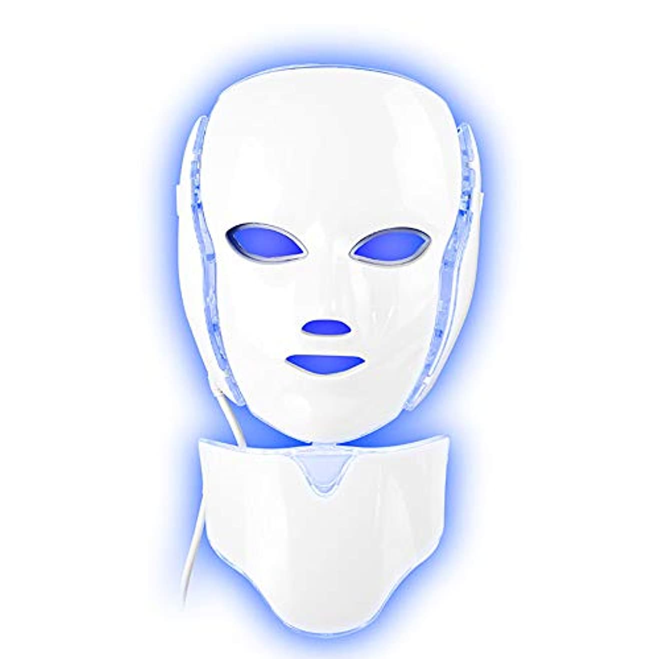 減らす歌手収容する7色LEDライトフェイシャルマスクアンチニキビ治療肌ネックマスクセットで楽器を締めます