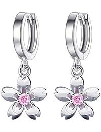 かわいいファッション桜のイヤリング 淡いピンク桜イヤリング さくら 櫻 ピンクゴ 銀メッキジルコニア