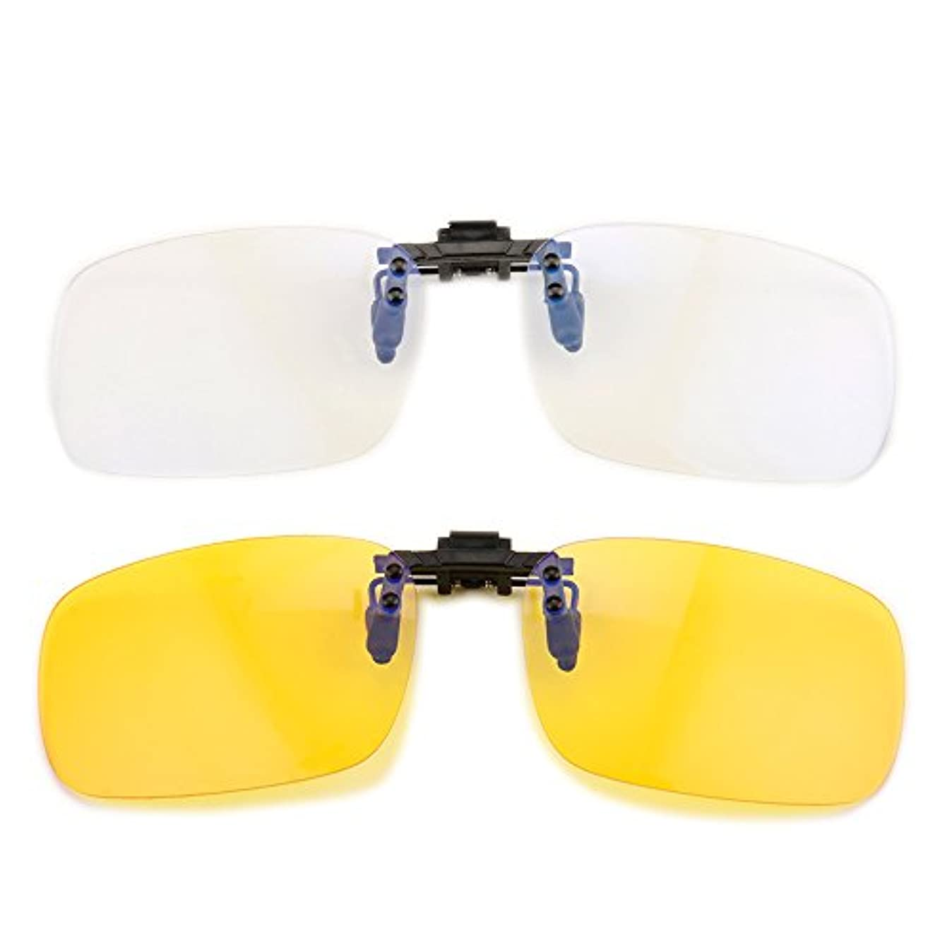 Gudzws 抗青色光フィルターメガネのクリップは、眼の緊張をブロック 白、黄色
