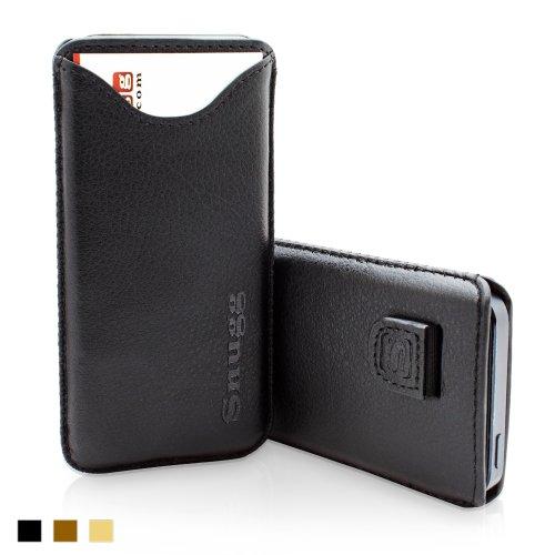 Snugg社 iPhone 5 / 5S ケース - カード用ポケット・引っぱりストラップ付き高品質PUレザーカバー、内部は最高級ヌバックファイバー(ブラック)、無期限補償付き