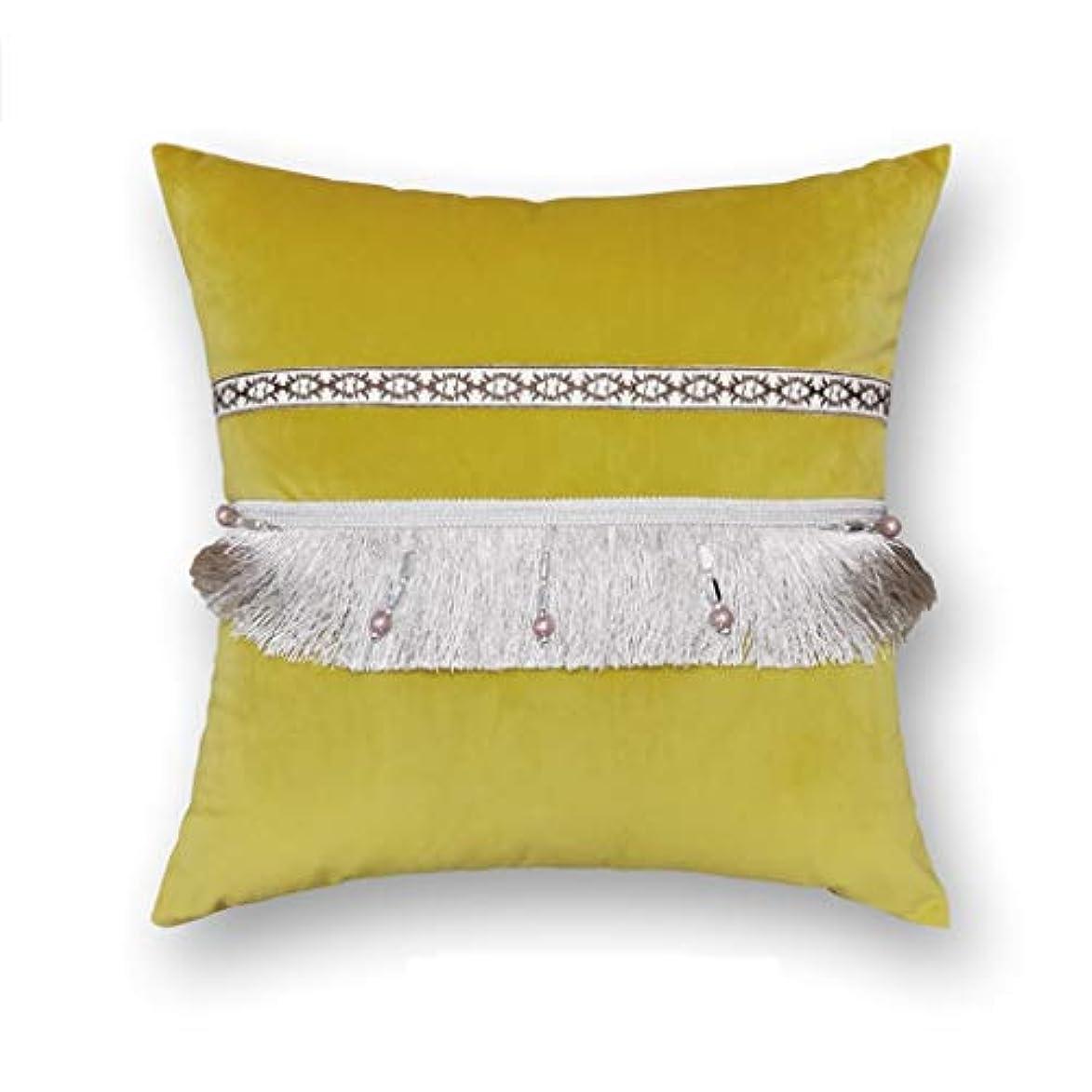 最小変化するりDYHOZZ 無地の正方形のクッション、創造的なタッセル枕ソファクッションマルチカラーオプション45 cm×45 cm まくら (色 : D)
