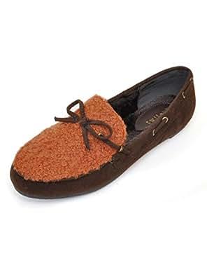 【ノーブランド品】異素材 ミックスモカシン シューズ フラット レディース 靴[e178] (LL(25cm), ブラウン) [ウェア&シューズ]