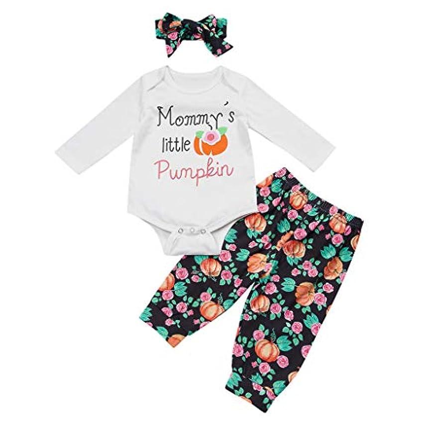 熱心特権的幼児ベイビーガールズボーイハロウィンレタープリントロンパース+ピンプキンパンツ+帽子衣装秋冬 新生児