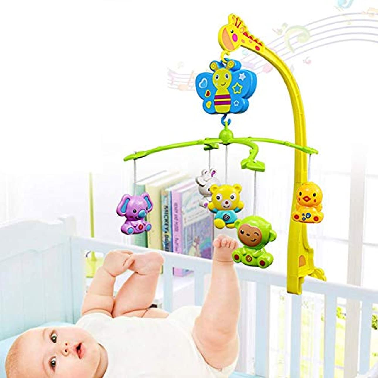 レーザ湿地版赤ちゃんのおもちゃ携帯電話多機能漫画動物ベッドベルスピン音楽幼児ガラガラおもちゃサポートベビーベッド、旅行システム音楽プレーヤー