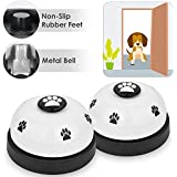 SlowTon Pet Bell, 2 Pack Metal Bell Dog Training with Non Skid Rubber Bottoms Dog Door Bell for Potty Training Clear Ring Pet Tool Communication Device with Paw Size Button on Top for Small Dogs Cats
