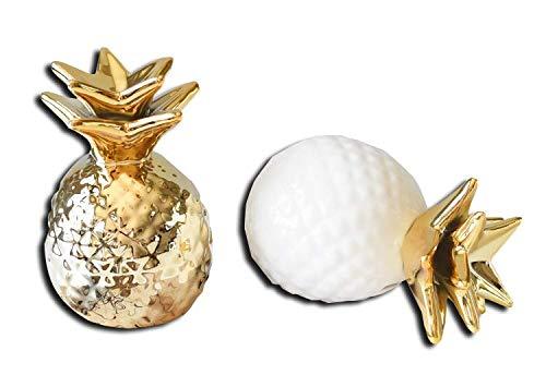 KIMIRY パイナップル 貯金箱 セラミック 雑貨 贈り物 ホワイト ゴールド かわいい 卓上 置物 開けられる (金)