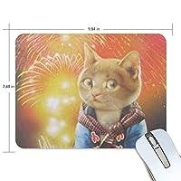 マウスパッド 猫少女と花火 ゲーミングマウスパッド 滑り止め 19 X 25 厚い 耐久性に優れ おしゃれ