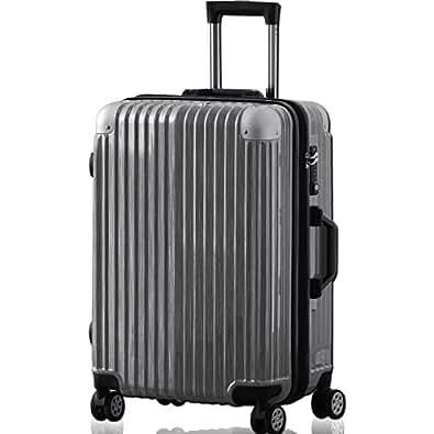 FIELDOOR TSAロック搭載スーツケース (Mサイズ) コーナーパッド付 ダブルキャスター シルバー 鏡面ヘアライン仕上げ トラベルキャリーケース リブ構造 ポリカーボ樹脂 軽量 耐衝撃 容量拡張機能 ダブルファスナー