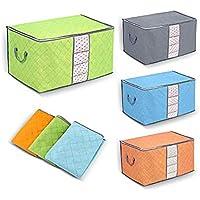衣類ケース 不織布 布団収納袋 コンパクトに入る 炭入り消臭効能 折り畳み式 毛布収納 大容量 4枚