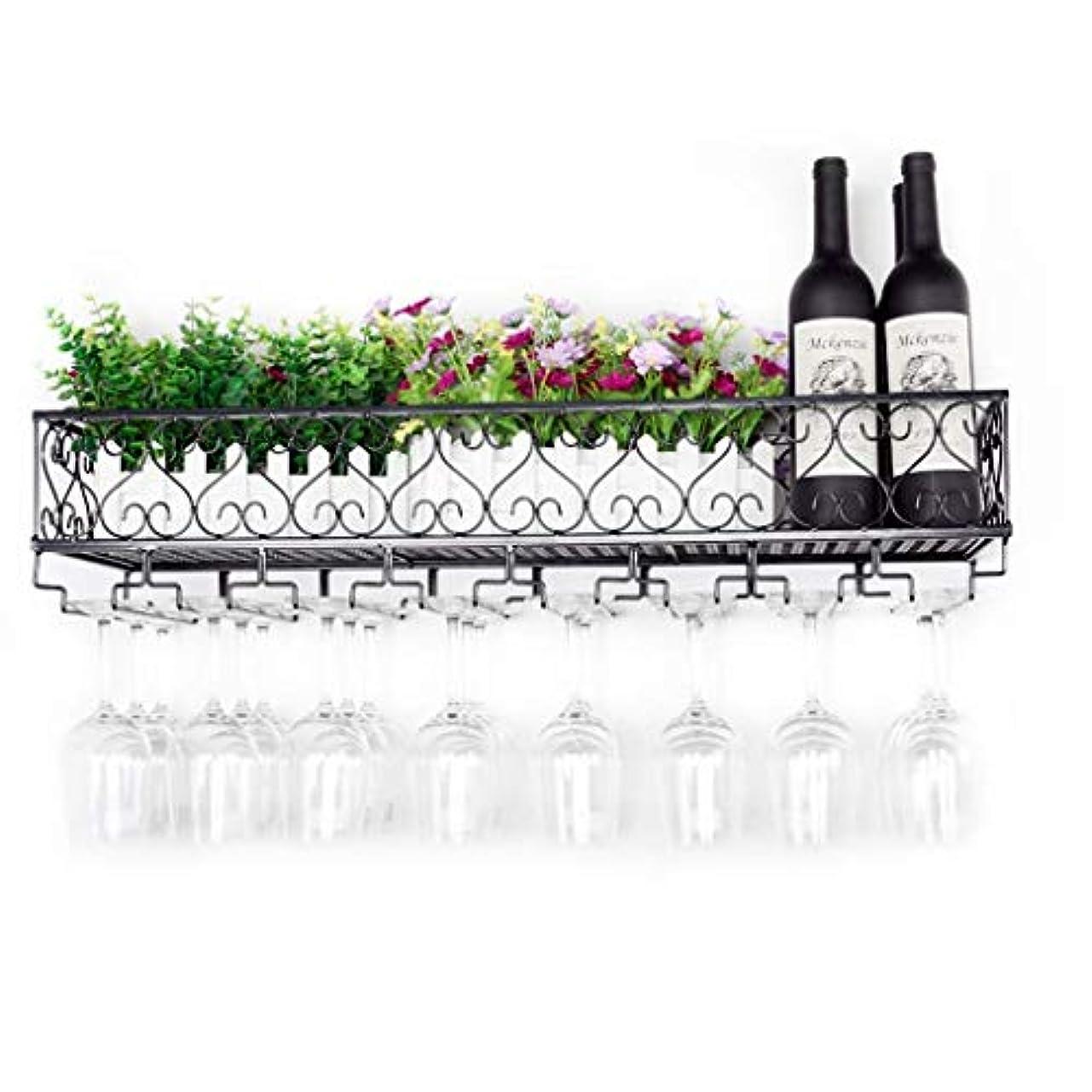 投票規定絶え間ないワインラック壁掛け収納棚素朴な金属ぶら下げワインシャンパングラスゴブレット脚付きラックワインボトルホルダー(サイズ:80×25 cm)