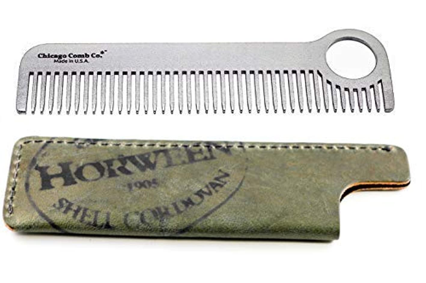 代わってマニフェストまだらChicago Comb Model 1 Stainless Steel + Horween Olive Shell Cordovan Sheath, Made in USA, Ultra-Smooth, Durable...