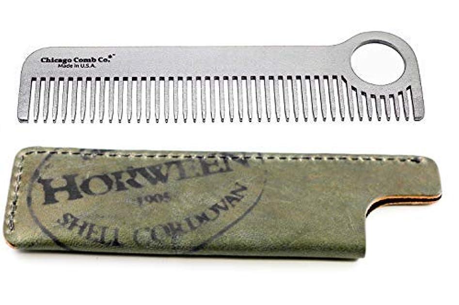 モディッシュ見かけ上ホームChicago Comb Model 1 Stainless Steel + Horween Olive Shell Cordovan Sheath, Made in USA, Ultra-Smooth, Durable...
