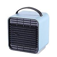 ミニエアクーラーポータブルデスクトップ USB冷却ファンホームオフィス用,blue
